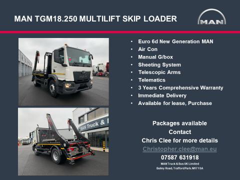 MAN TGM 18.250 Multilift Skip Loader